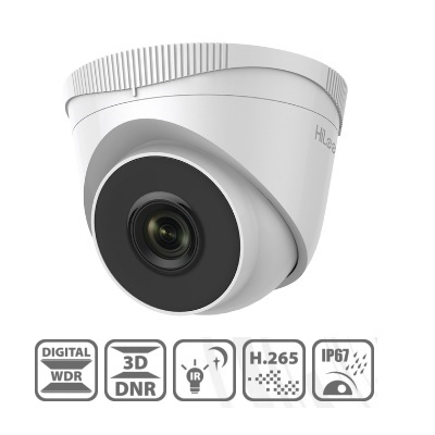 HiLook, IPC-T221H[4mm], 2MP IR Fixed Network Turret Camera - 4mm